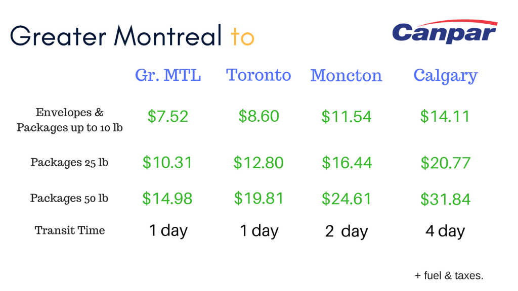 Montreal Business Shipping Rates